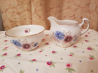 Vintage Royal Vale blue & pink flowers bone china open sugar bowl & milk jug