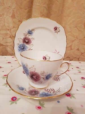 Vintage Royal Vale blue & pink flowers bone china teacup saucer plate trio