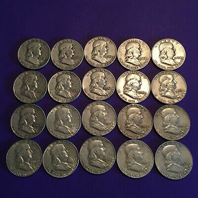 One Roll Of Franklin Half Dollars *** 90% Silver***  (20 Coins)