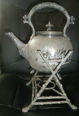 Antique Silver Plate Teapot/spirit Kettle On Stand