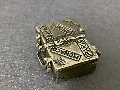 Antique Miniature Sterling Silver 925 Hinged Pill Snuff Box Suitcase