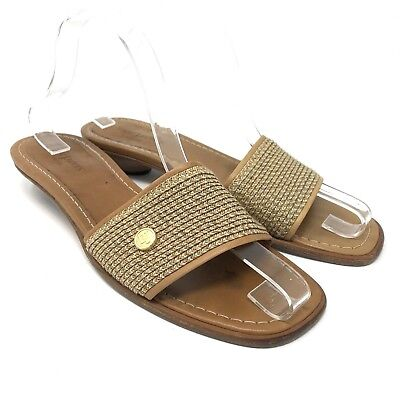 05ce5af3a8dc Eric Javits New York Women s Tan Leather Slide Sandal Made in Italy Size 9M