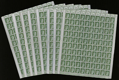 Germany 1941-44 Hitler definitives 5pf green lot of 8 COMPLETE SHEETS MNH **