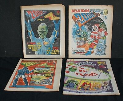 Four Old Issues of '2000 AD'  Comics 1977 to 1987