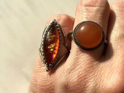 SILVER NATURAL ANTIQUE BALTIC VINTAGE AMBER OLD BUTTERSCOTCH RINGS 6.04 gr.