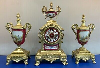 Antique 19thc French Gilt & Sevres Porcelain Mantel Clock Garniture Set By Marti