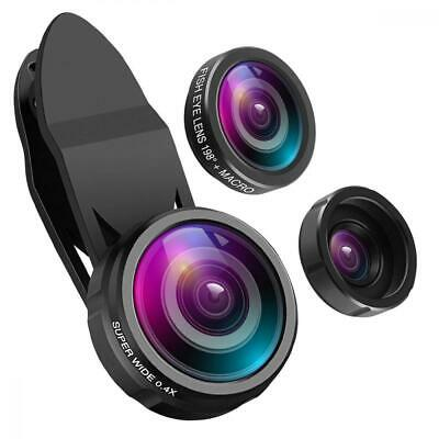 ORIA 【Upgrade Version】 3 in 1 Handy Objektiv Set, mit 198° Fisheye + 0.4X...