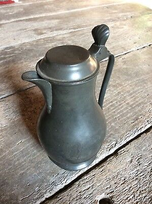 Early 19th Century French Antique Pewter Lidded Flagon