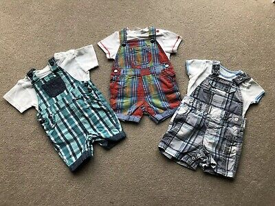 Baby Boys Clothes 3-6 Months Bundle 3 x Summer Dungarees T-Shirts Next