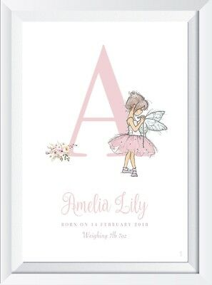 Personalised baby child fairy name print picture gift nursery picture art name
