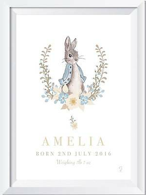 Personalised Name Peter Rabbit Picture Print Christening Gift Nursery Baby art