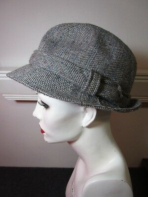 f601c9f94e5 Country Gentleman Fedora Herringbone Tweed Hat Gray Wool Blend Men s Size  Large
