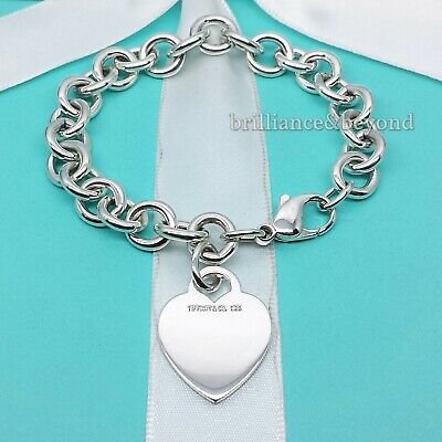 Tiffany & Co. Heart Tag Charm Bracelet Chain 925 Sterling Silver Authentic Vtg
