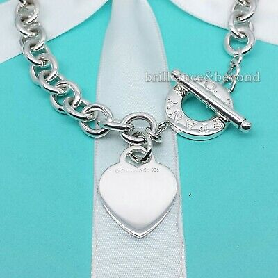 Tiffany & Co. Heart Tag Toggle Chain Necklace Choker Sterling Silver Authentic