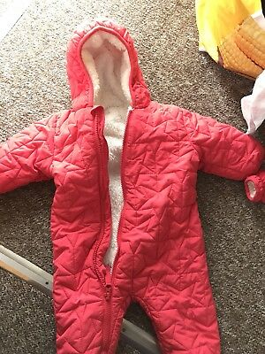 Baby Girl Next Pink Stars 3-6 Month Coat All In One Snow Suit