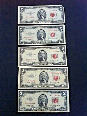 "Lot of 5 US $2 RED SEAL BANK NOTES Two Dollar Bills Federal Reserve  Nr ""LOOK"""