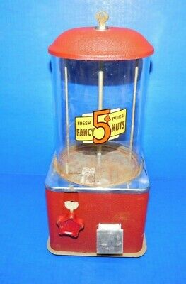 Vtg Antique Red Crackle Paint Fancy Nuts 5 Cent Gumball Vending Machine 1 Key