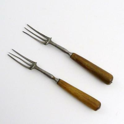 Two Antique Steel And Wooden Handled Forks, 18Th/19Th Century
