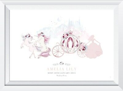 Personalised baby child princess unicorn name print picture nursery christening