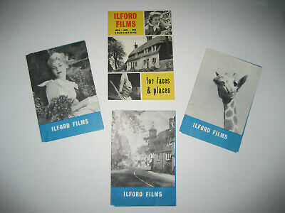 Four Vintage Ilford, Faces & Places Film and Negative Wallets 1950's