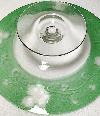 Rare Antique Dorflinger Green Quality Engraved Cut Glass Footed Bowl Compote