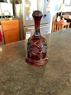 Vintage Avon Ruby Red Cranberry Cape Cod Dinner Hostess Bell Glass