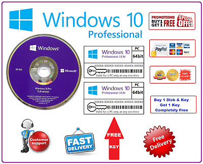 Windows 10 Pro Professional 64Bit DVD & License Key + 1 Free Bonus Printed Code