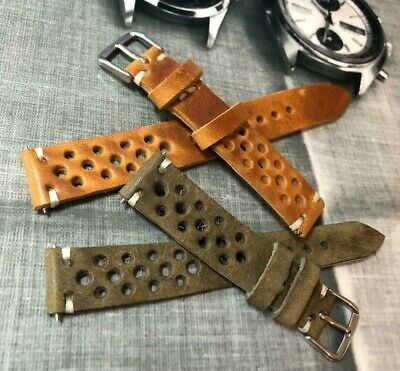 Italian Vintage Genuine Leather Rally Watch Strap H/Made 18 19 20 22mm Amber Tan