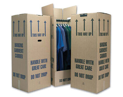 3 xNew cardboard wardrobe boxes with steal rail .used for moving House on hanger