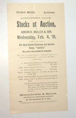 Rare Antique Victorian American Stock Auction Advertising Broadside! NY! C.1891!