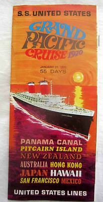 Ss United States - 1970 Grand Pacific Cruise That Never Was - Rare Brochure