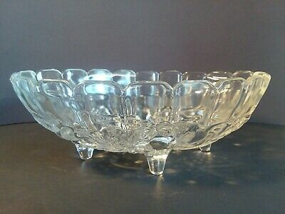 Vintage Etched Grape and Leaves solid Crystal Footed Fruit Bowl