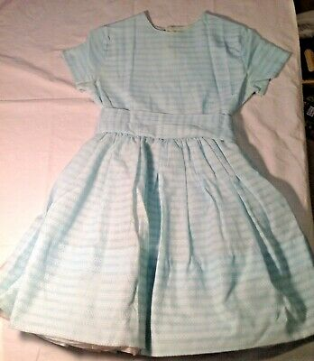 Vintage Tagged VOILA Girls Dress Size 10 Pale Blue with Crinoline Slip