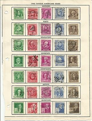 USA 859-893 Complete used set, Famous Americans 1940 issue CV $16.05