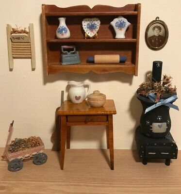 Dollhouse Miniature Country Kitchen Lot Shelf, Vintage Stove Table Country Decor