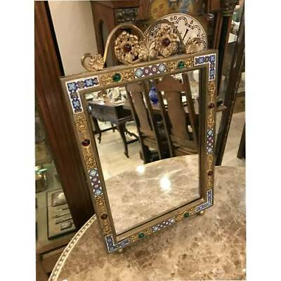 ANTIQUE 19TH.C LARGE FRENCH WALL BRONZE ENAMEL MIRROR (25*38.5 cm)