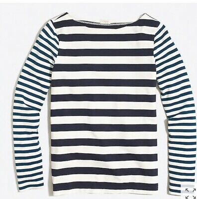 J. Crew Factory Women Long-sleeve mixed-stripe shirt Size S Blue White G1375 NWT