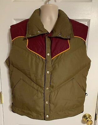 Vtg Obermeyer 2 Tone Carlson Goose Down Vest Western Style Puffer Nice!