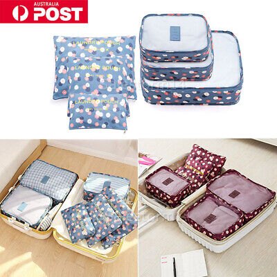 6X Travel Luggage Suitcase Organiser Packing Cubes Set Bags Backpack Pouches