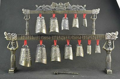 Rare china Old Classical Musical Instrument bronze Chime bells Beautiful statues