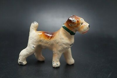VTG Painted HUBLEY Cast Iron AIREDALE TERRIER Dog Party Favor Fox