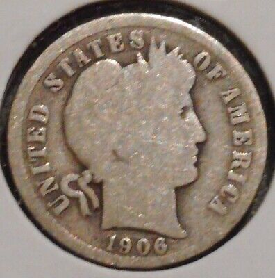 Barber Silver Dime - 1906 - Sunday Auction Event !! - $1 Unlimited Shipping