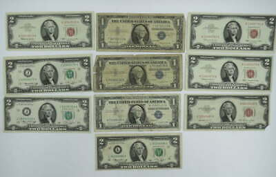 10 Us Silver Certificate & United States Note Lot 1957 Silver Cert Unc $2 Notes