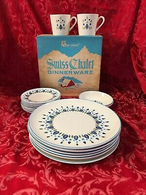 Vintage Marcrest China Swiss Chalet Dinnerware Place Setting Unopened Box NOS