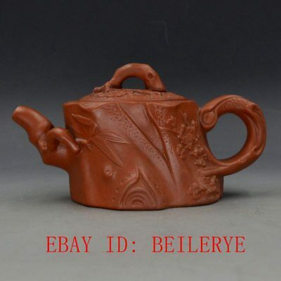Chinese Yixing Zisha Hand-carved Root Shape Teapot BY13