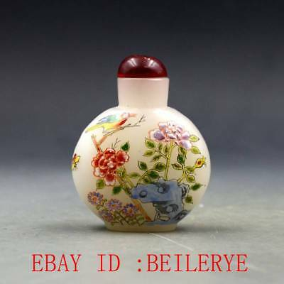 Antique Chinese Glass Handmade Peony & Bird Snuff Bottles BY70