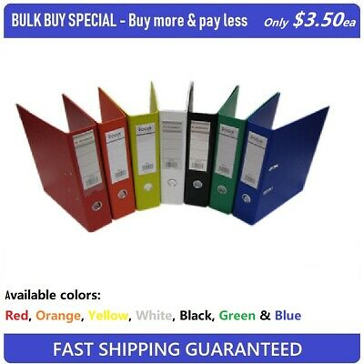 **BULK BUY SPECIAL** PVC Lever Arch 2 Ring Folder A4 Multi-Colors Only $3.50 ea
