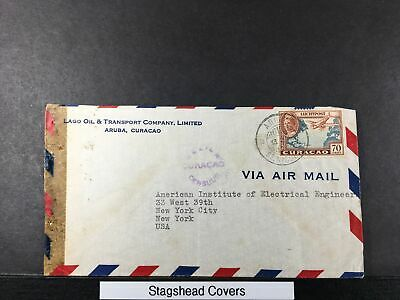Curacao Cover 13 Jul 1943 Airplane Queen Aruba To NY US Airmail