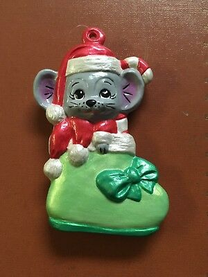 Ceramic Christmas Ornament Mouse in Boot