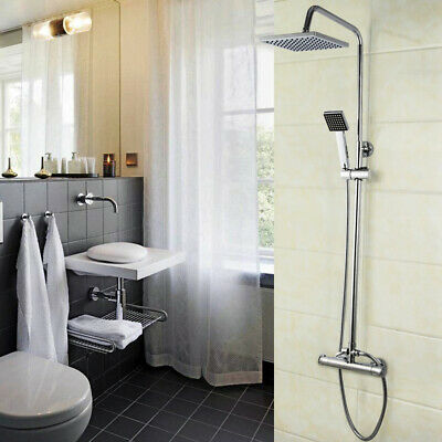 Bathroom Thermostatic Shower Mixer Set Square Chrome Twin Head Exposed Valve